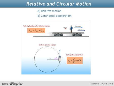 Relative and Circular Motion Mechanics Lecture 3, Slide 1 a ) Relative motion b) Centripetal acceleration.