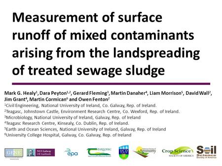 Measurement of surface runoff of mixed contaminants arising from the landspreading of treated sewage sludge Mark G. Healy 1, Dara Peyton 1,2, Gerard Fleming.