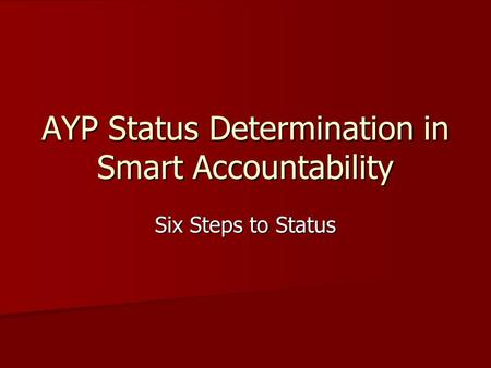 AYP Status Determination in Smart Accountability Six Steps to Status.