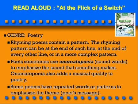 "READ ALOUD : ""At the Flick of a Switch"""