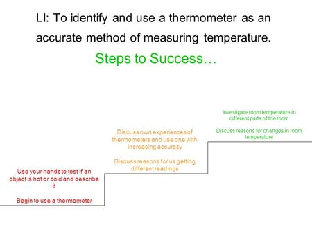 LI: To identify and use a thermometer as an accurate method of measuring temperature. Steps to Success… Use your hands to test if an object is hot or cold.