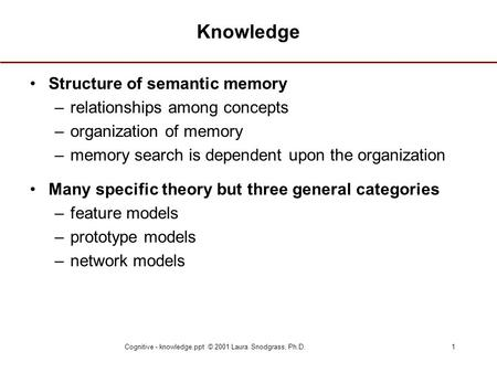 Cognitive - knowledge.ppt © 2001 Laura Snodgrass, Ph.D.1 Knowledge Structure of semantic memory –relationships among concepts –organization of memory –memory.