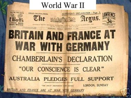 World War II. In what years did World War II take place?