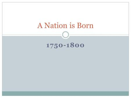 A Nation is Born 1750-1800.