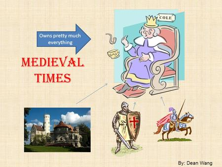 Medieval Times By: Dean Wang Owns pretty much everything.