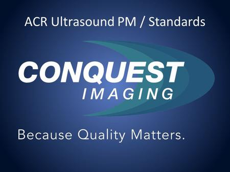 ACR Ultrasound PM / Standards