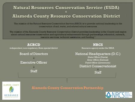 The mission of the Natural Resource Conservation Service (NRCS) is to provide national leadership in the conservation of soil, water, and related natural.