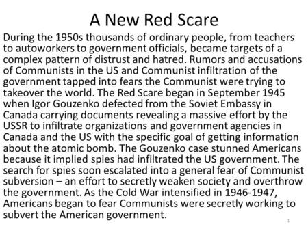 the role of communism to the red scare of the 1950s