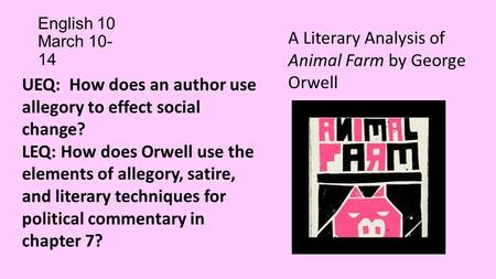 A literary analysis of religion in animal farm by george orwell