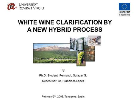 By Ph.D. Student: Fernando Salazar G. Supervisor: Dr. Francisco López February 3 th, 2005, Tarragona, Spain WHITE WINE CLARIFICATION BY A NEW HYBRID PROCESS.
