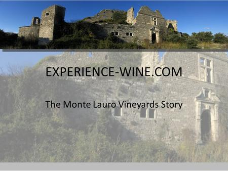 EXPERIENCE-WINE.COM The Monte Lauro Vineyards Story.