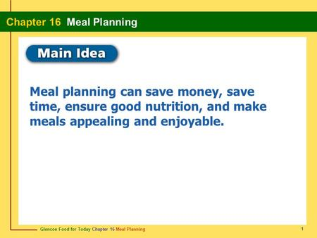 Glencoe Food for Today Chapter 16 Meal Planning Chapter 16 Meal Planning 1 Meal planning can save money, save time, ensure good nutrition, and make meals.