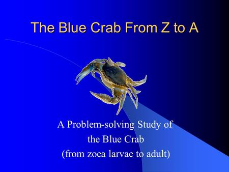 The Blue Crab From Z to A A Problem-solving Study of the Blue Crab (from zoea larvae to adult)