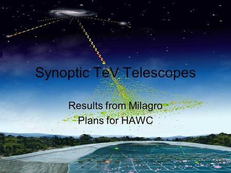 Los Alamos National Laboratory Adelaide, Australia. December 2006 Gus Sinnis Synoptic TeV Telescopes Results from Milagro Plans for HAWC.