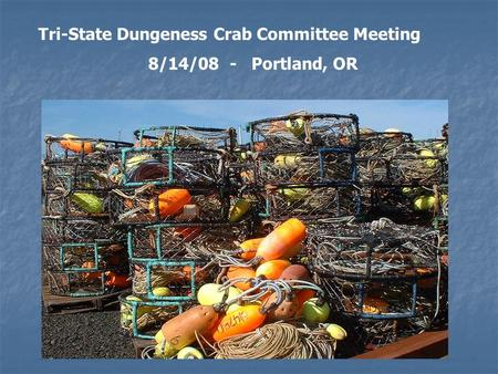 Tri-State Dungeness Crab Committee Meeting 8/14/08 - Portland, OR.