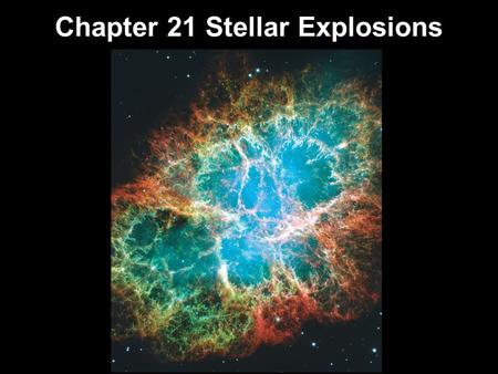 Chapter 21 Stellar Explosions. 21.1Life after Death for White Dwarfs 21.2The End of a High-Mass Star 21.3Supernovae Supernova 1987A 21.4The Formation.