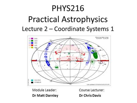 PHYS216 Practical Astrophysics Lecture 2 – Coordinate Systems 1
