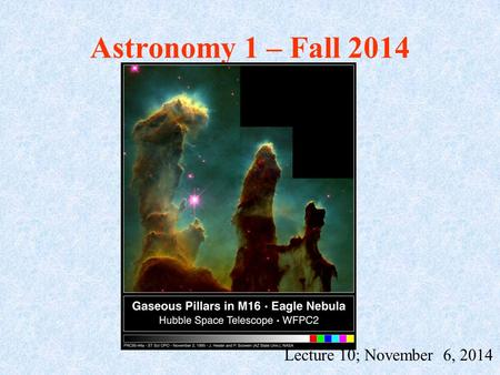 Astronomy 1 – Fall 2014 Lecture 10; November 6, 2014.
