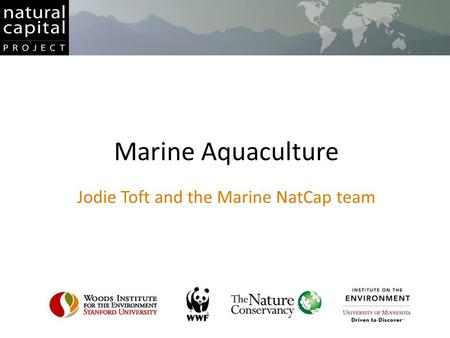Marine Aquaculture Jodie Toft and the Marine NatCap team.