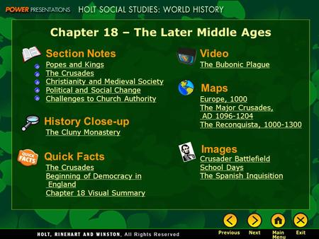 Chapter 18 – The Later Middle Ages