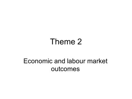 Theme 2 Economic and labour market outcomes. Theme 2 qual work in India/ Ghana/ Pakistan Theme 2 quant work has utilised Ghana/ Pakistan RECOUP data and.