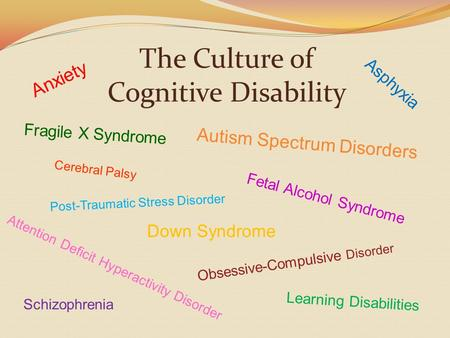 The Culture of Cognitive Disability Attention Deficit Hyperactivity Disorder Fragile X Syndrome Down Syndrome Fetal Alcohol Syndrome Asphyxia Autism Spectrum.