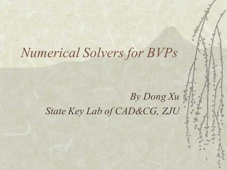 1 Numerical Solvers for BVPs By Dong Xu State Key Lab of CAD&CG, ZJU.