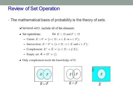 Review of Set Operation The mathematical basis of probability is the theory of sets.
