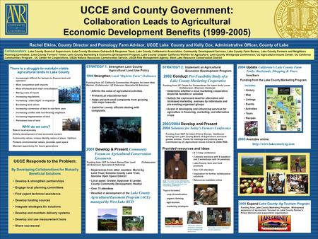 Rachel Elkins, County Director and Pomology Farm Advisor, UCCE Lake County and Kelly Cox, Administrative Officer, County of Lake UCCE and County Government: