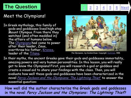 Meet the Olympians! In Greek mythology, this family of gods and goddesses lived high atop Mount Olympus. From there they watched (and often meddled in)