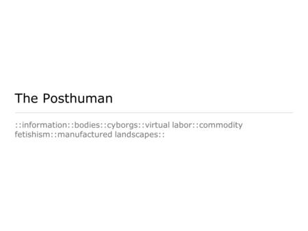 The Posthuman ::information::bodies::cyborgs::virtual labor::commodity fetishism::manufactured landscapes::