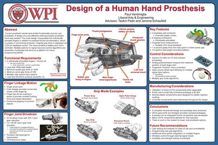 Design of a Human Hand Prosthesis Paul Ventimiglia Liberal Arts & Engineering Advisors: Taskin Padir and Jerome Schaufeld Abstract Current prosthetic hands.