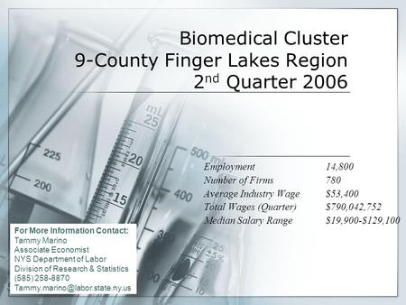 Biomedical Cluster 9-County Finger Lakes Region 2 nd Quarter 2006 Employment14,800 Number of Firms780 Average Industry Wage$53,400 Total Wages (Quarter)$790,042,752.