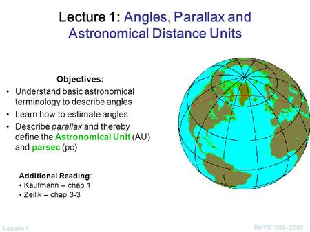 Lecture 1 PHYS1005 - 2003 Lecture 1: Angles, Parallax and Astronomical Distance Units Objectives: Understand basic astronomical terminology to describe.