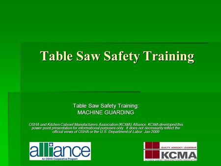 Table Saw Safety Training