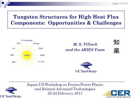 Page 1 of 15 Tungsten Structures for High Heat Flux Components: Opportunities & Challenges M. S. Tillack and the ARIES Team Japan-US Workshop on Fusion.