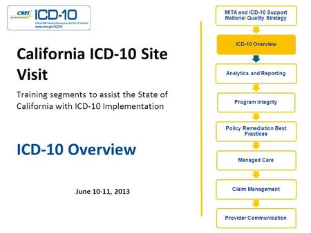 ICD-10 Overview June 10-11, 2013 California ICD-10 Site Visit Training segments to assist the State of California with ICD-10 Implementation.
