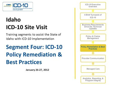 Segment Four: ICD-10 Policy Remediation & Best Practices January 26-27, 2012 Idaho ICD-10 Site Visit Training segments to assist the State of Idaho with.