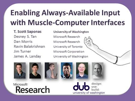 Enabling Always-Available Input with Muscle-Computer Interfaces T. Scott Saponas University of Washington Desney S. Tan Microsoft Research Dan Morris Microsoft.