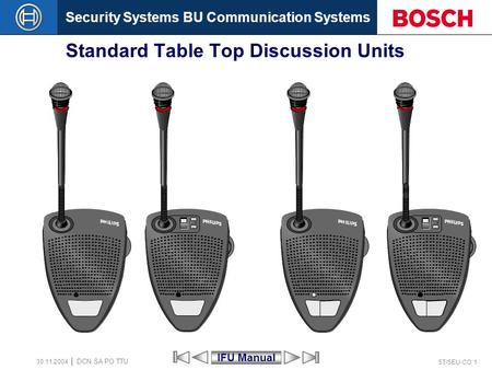 Security Systems BU Communication Systems ST/SEU-CO 1 DCN SA PO TTU 30.11.2004 Standard Table Top Discussion Units IFU Manual.