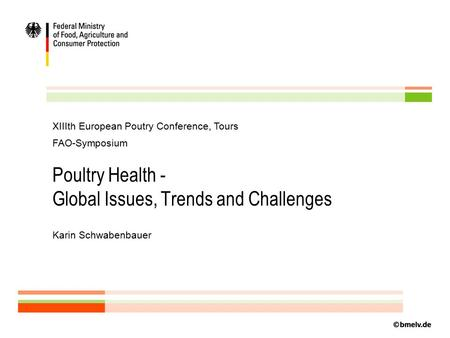 Poultry Health - Global Issues, Trends and Challenges Karin Schwabenbauer XIIIth European Poutry Conference, Tours FAO-Symposium.