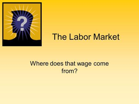 The Labor Market Where does that wage come from?.