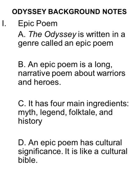 Notes on epic poetry