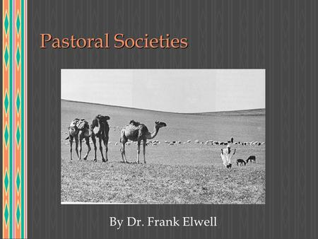 Pastoral Societies By Dr. Frank Elwell.