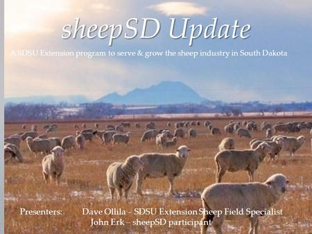 SheepSD Update A SDSU Extension program to serve & grow the sheep industry in South Dakota Presenters:Dave Ollila – SDSU Extension Sheep Field Specialist.