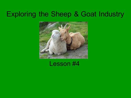 Exploring the Sheep & Goat Industry Lesson #4. Common Core/Next Generation Science Standards Addressed CCSS.ELA-Literacy.RH.9-10.4 - Determine the meaning.