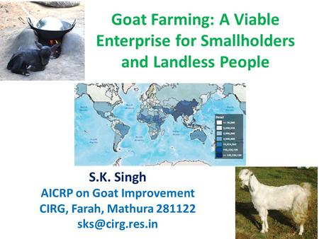 Goat Farming: A Viable Enterprise for Smallholders and Landless People S.K. Singh AICRP on Goat Improvement CIRG, Farah, Mathura 281122