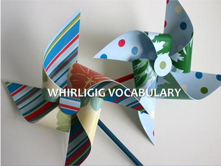 Whirligig Vocabulary.
