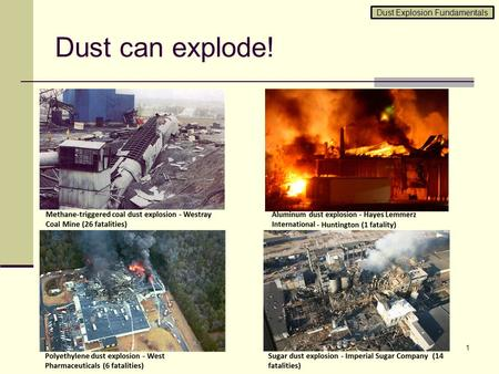 Dust can explode! 1 Dust Explosion Fundamentals. Fire triangle and explosion pentagon 2 FUEL IGNITION OXIDANT CONFINEMENT MIXING OXIDANT IGNITION FUEL.