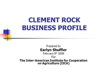 CLEMENT ROCK BUSINESS PROFILE Prepared by Earlyn Shuffler February 8 th 2008 For The Inter-American Institute for Cooperation on Agriculture (IICA)